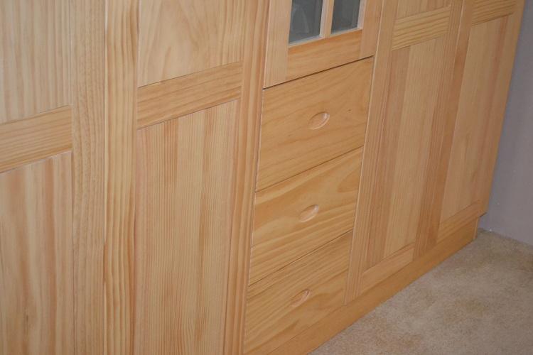 全实木 五门开门衣柜衣橱储物柜收纳柜 平板玻璃简约